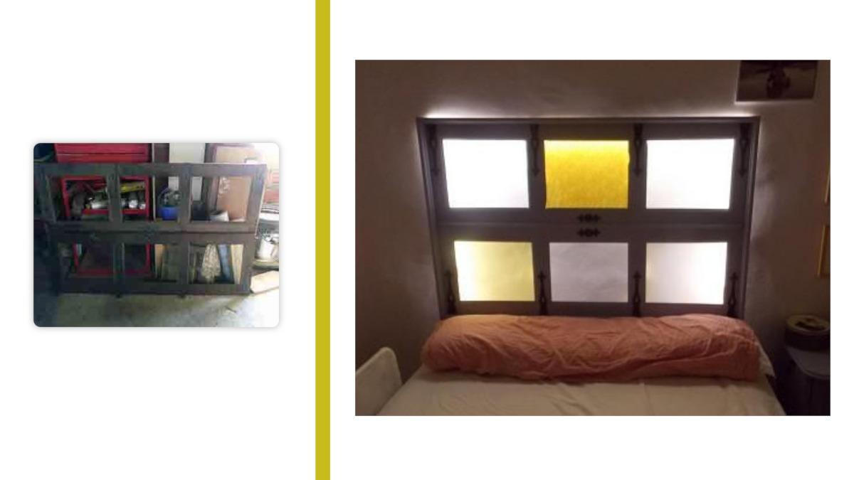 restaurar muebles antiguos: imagen de una ventana reconvertida en cabecero