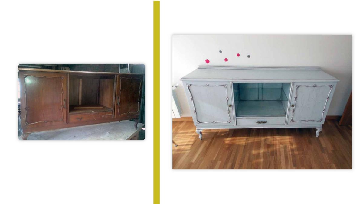 restaurar muebles antiguos: ejemplo antes y después de cómoda restaurada
